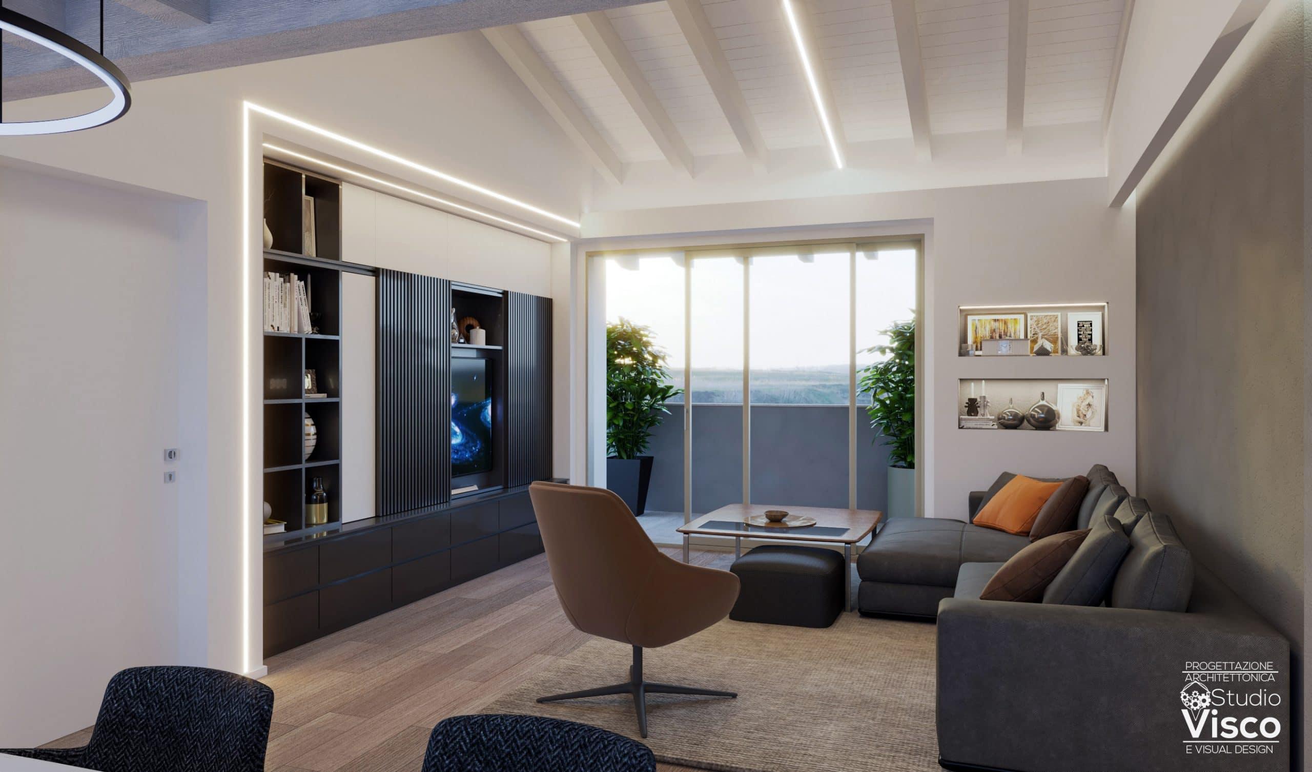 Render soggiorno attico Cesate