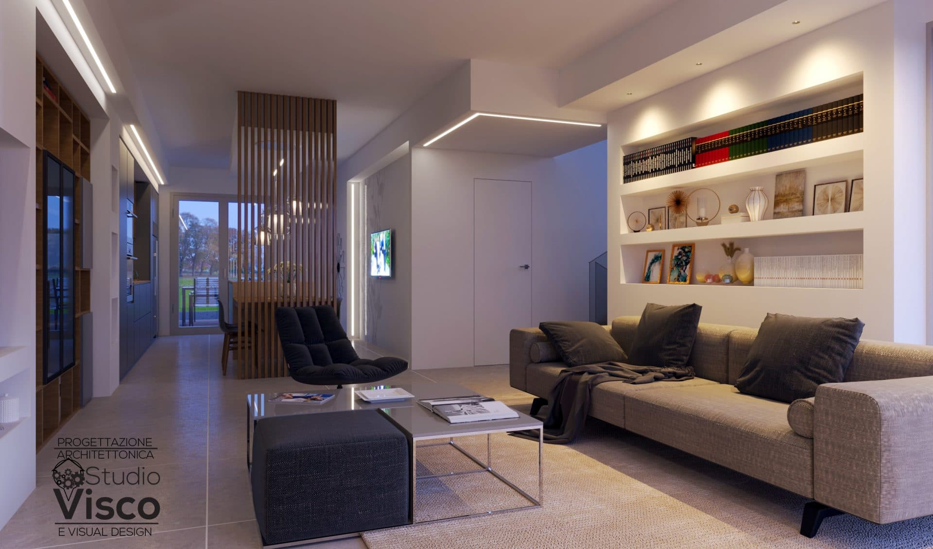 Render zona giorno di villa in provincia di Milano