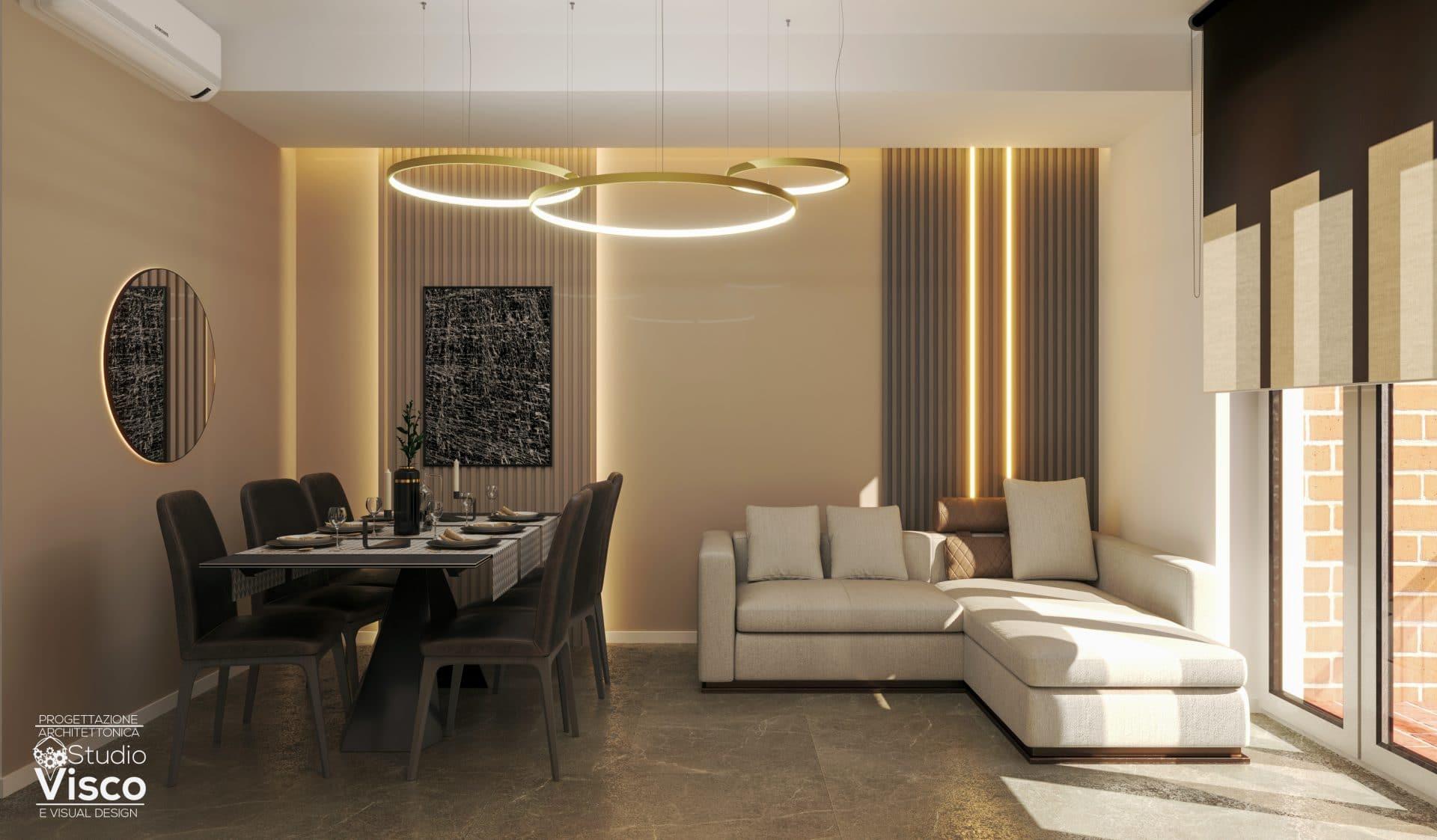 Vista soggiorno - progetto luci